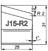 J15-R2 15° Резец для снятия фаски формы J