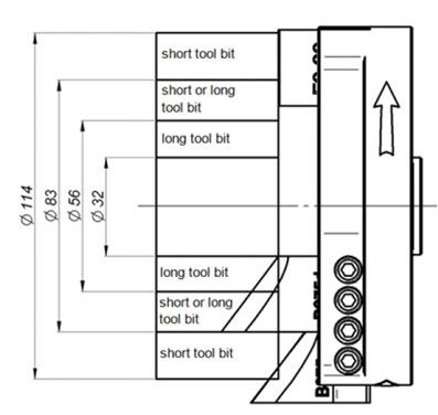 В зависимости от диаметра трубы с 0° резцом для торцевания применяется стандартный или длинный резец для снятия фаски