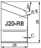 J20-R8 20° Резец для снятия фаски формы J