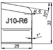 J10-R6 10° Резец для снятия фаски формы J